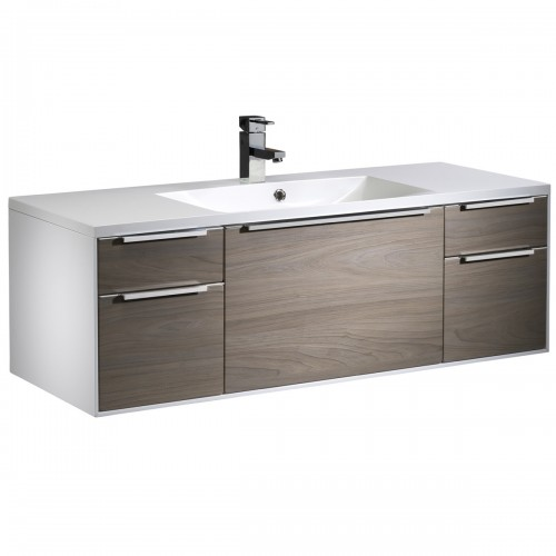 ROPER RHODES VISTA 1200MM VANITY UNIT & BASIN - WHITE/DARK ELM - WALL MOUNTED