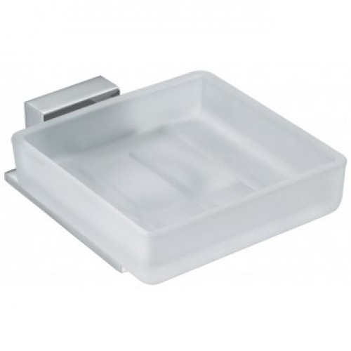 SQUARE GLASS SOAP DISH & HOLDER